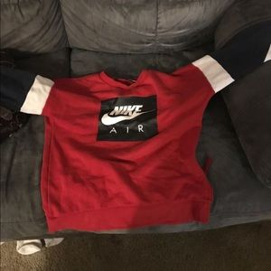 Nike Air Red, Dark Blue, And White Sweatshirt